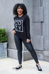 """Cozy"" Long Sleeve Graphic Top - Black closet candy womens printed sweatshirt 1"