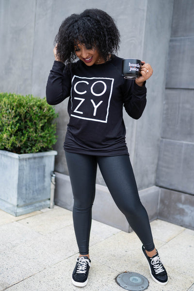 """Cozy"" Long Sleeve Graphic Top - Black closet candy womens printed sweatshirt 4"