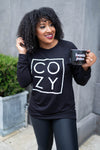 """Cozy"" Long Sleeve Graphic Top - Black closet candy womens printed sweatshirt 2"