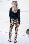 Running Wild Leopard Print Leggings - Latte closet candy women's trendy animal print workout leggings back