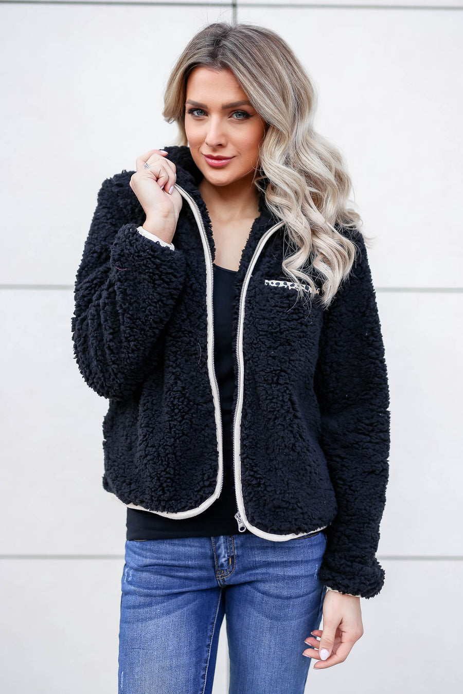 CBRAND Fierce Touch Sherpa Jacket - Black closet candy women's trendy cozy zip front sherpa jacket front