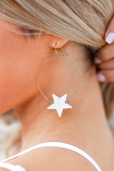 Searching The Stars Hoop Earrings - Gold closet candy women's trendy star hoop earrings close up