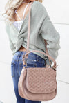 Everything In It's Place Woven Saddle Bag - Taupe closet candy women's trendy purse with woven design close up