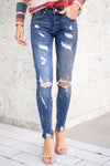 KAN CAN Gigi 2021 Distressed Skinny Jeans - Dark Wash closet candy women's trendy distressed jeans front