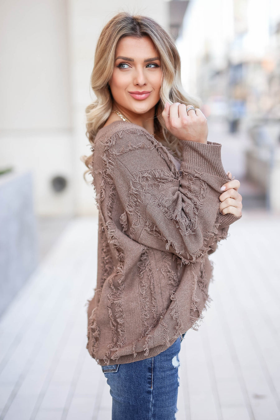 Best Fringe Forever Sweater - Mocha closet candy women's long sleeve v neck sweater sitting