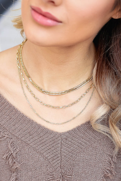 Happy Endings Layered Chain Necklace - Gold closet candy women's trendy layered necklace with different chain styles 1
