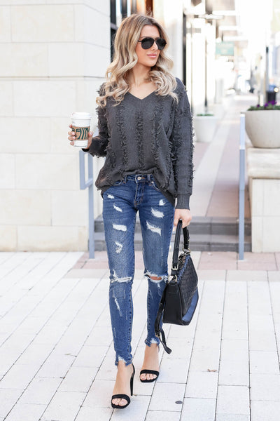 Best Fringe Forever Sweater - Charcoal closet candy women's long sleeve v neck sweater outfit