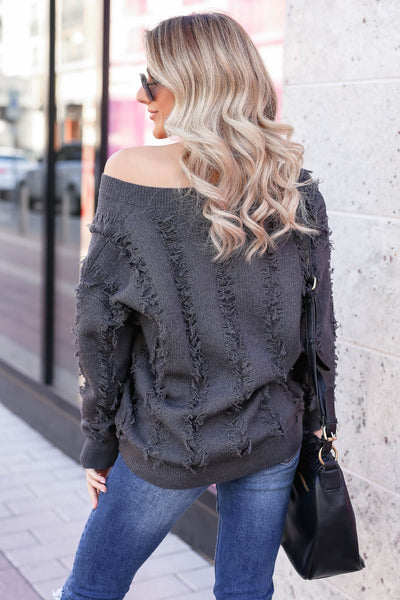 Best Fringe Forever Sweater - Charcoal closet candy women's long sleeve v neck sweater back