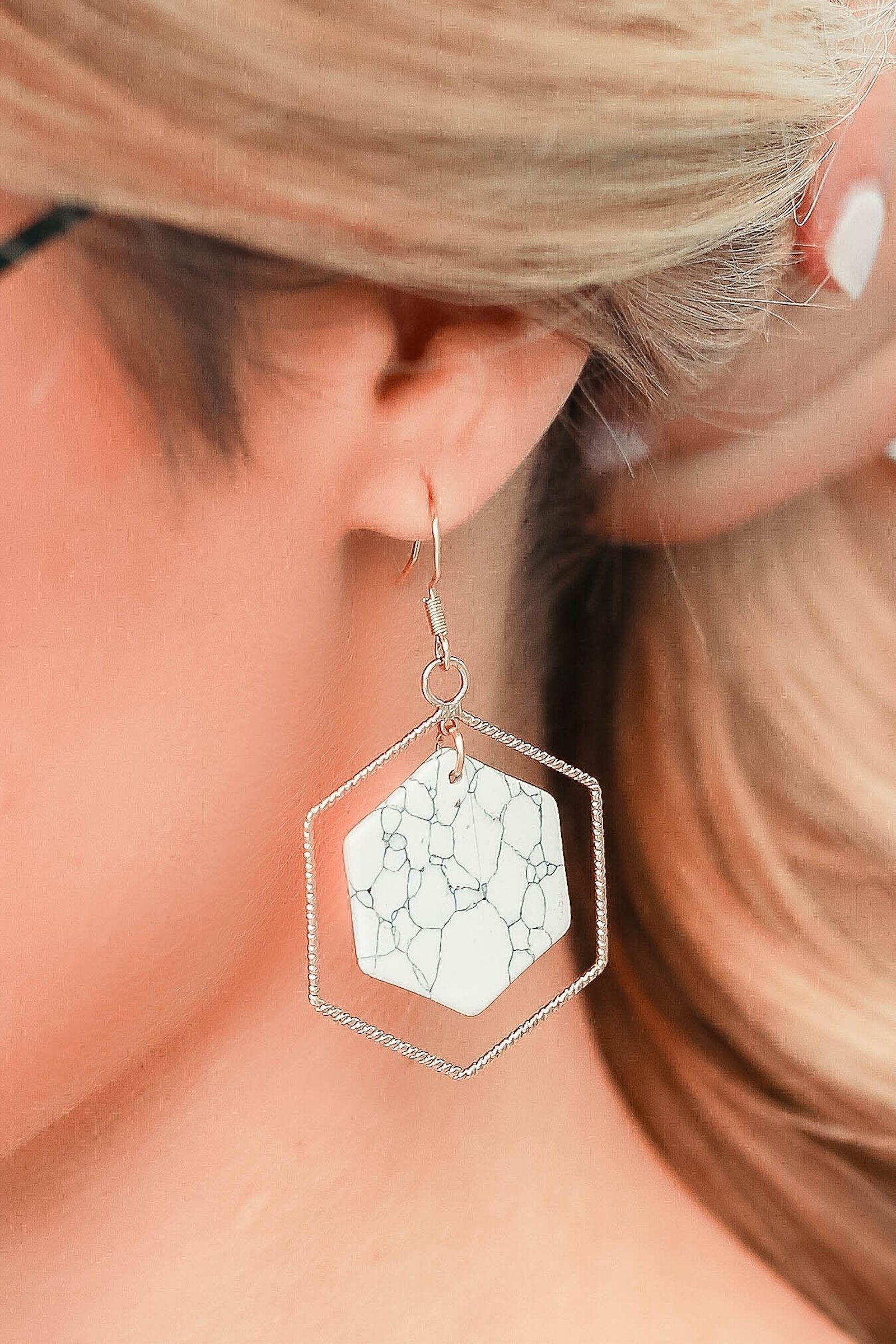 Inner Peace Earrings - White closet candy womens hexagon and marble accessory 1