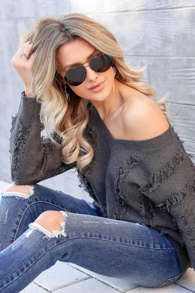 Best Fringe Forever Sweater - Charcoal closet candy women's long sleeve v neck sweater sitting