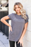 """Jesus Is King"" Graphic Tee - Grey closet candy women's trendy round neck graphic top front 3"
