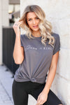 """Jesus Is King"" Graphic Tee - Grey closet candy women's trendy round neck graphic top front"