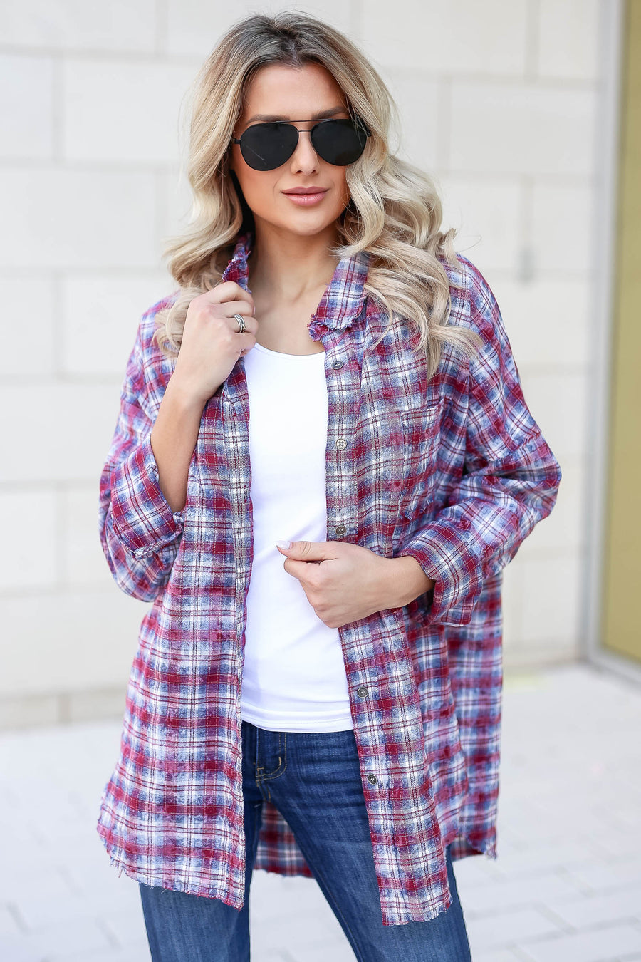 Low Key Distressed Plaid Shirt - Wine closet candy women's trendy flannel button up top 1