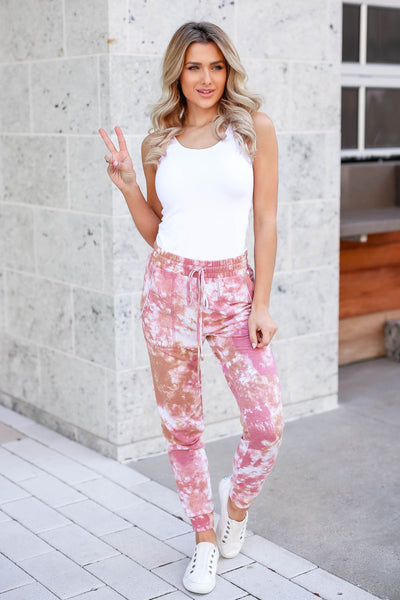 A Million Reasons Tie Dye Joggers - Dusty Rose closet candy women's trendy tie dye jogger pants outfit 2