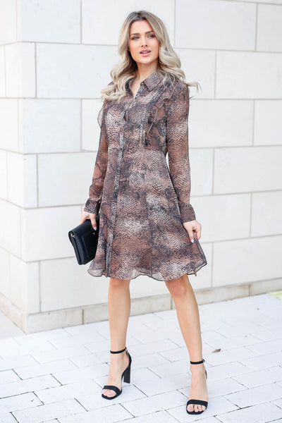 MYSTREE Follow My Lead Snake Print Dress - Mocha closet candy women's trendy long sleeve woven dress front 2
