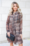 MYSTREE Follow My Lead Snake Print Dress - Mocha closet candy women's trendy long sleeve woven dress front