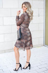 MYSTREE Follow My Lead Snake Print Dress - Mocha closet candy women's trendy long sleeve woven dress back