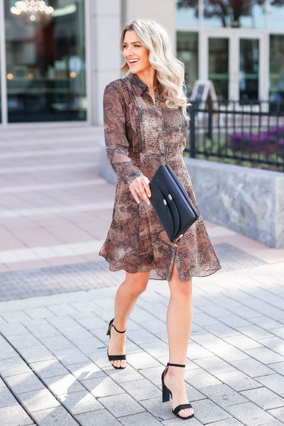 MYSTREE Follow My Lead Snake Print Dress - Mocha closet candy women's trendy long sleeve woven dress walking