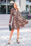MYSTREE Follow My Lead Snake Print Dress - Mocha closet candy women's trendy long sleeve woven dress front 3