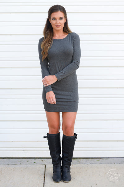 PIKO Dreams Are Forever Dress - charcoal long sleeve fitted dress, fall outfit, Closet Candy Boutique 3