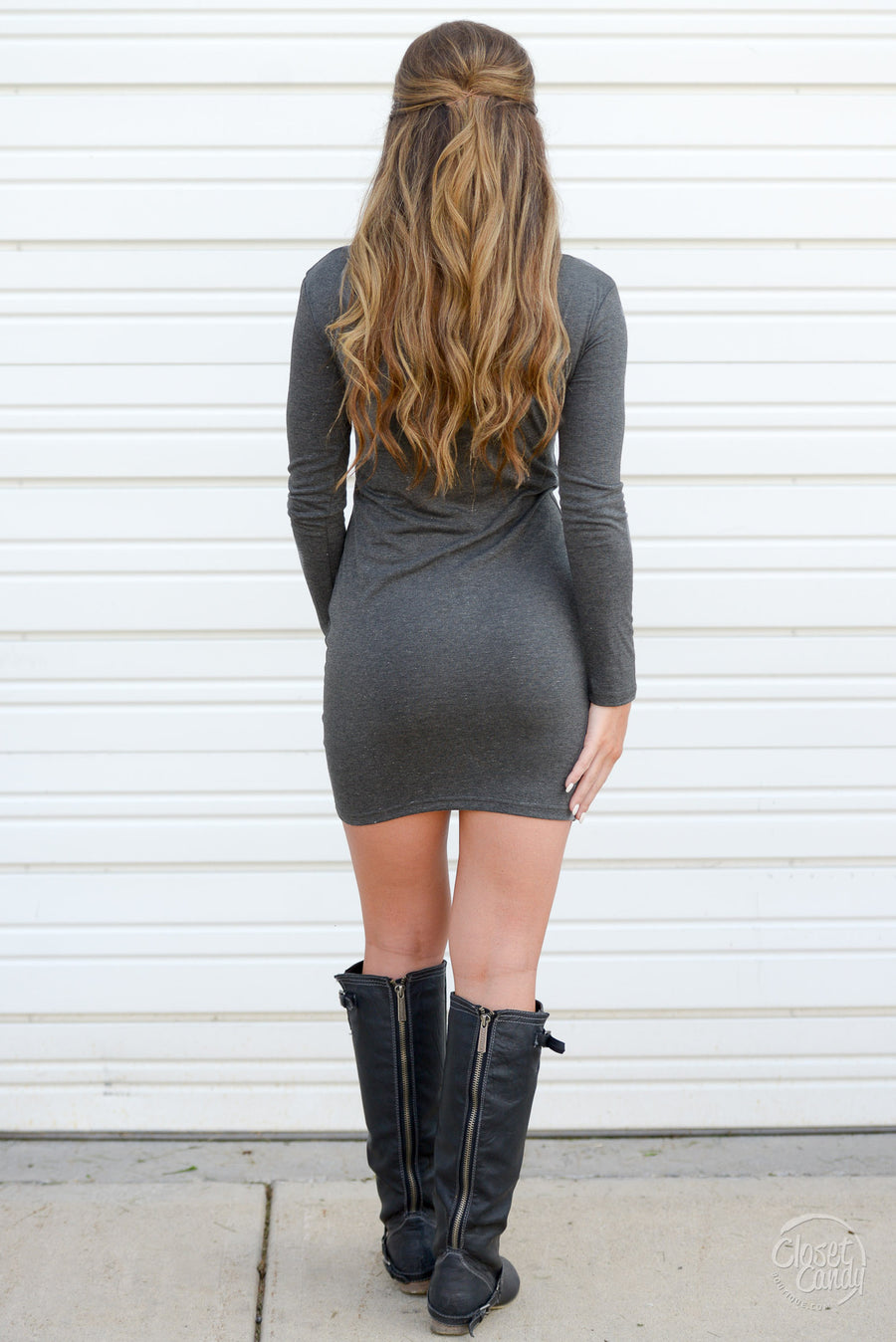 PIKO Dreams Are Forever Dress - charcoal long sleeve fitted dress, Closet Candy Boutique 1