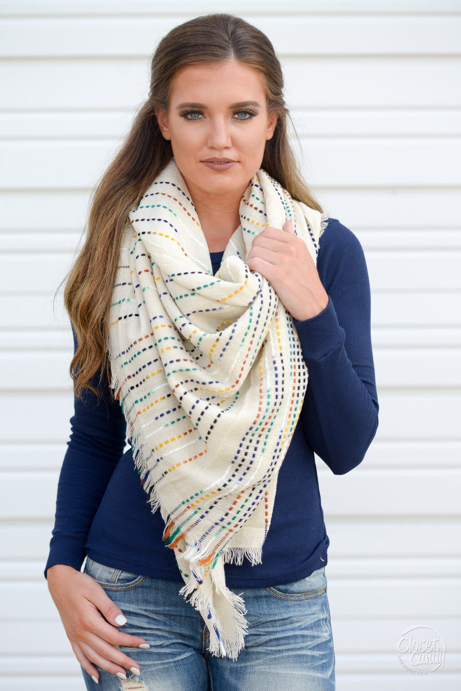 Top It Off Blanket Scarf - pretty multi-colored yarn blanket scarf, Closet Candy Boutique