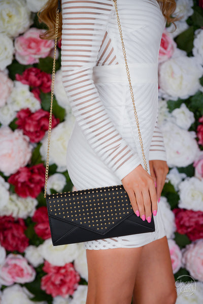 Making Statements Studded Clutch - Black