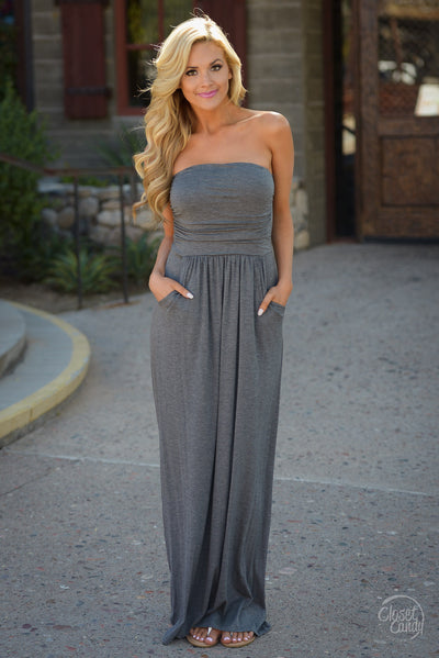 Beat of My Heart Maxi Dress - Charcoal