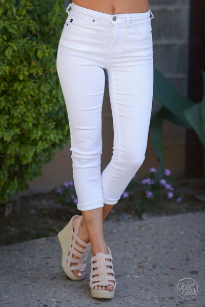KAN CAN Cropped Jeans - White