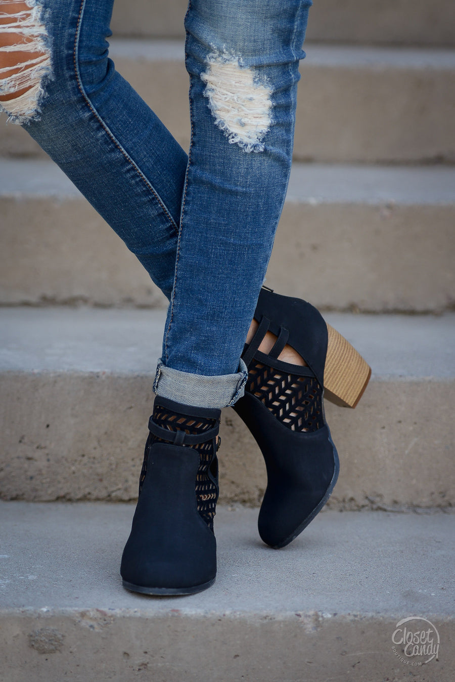 Leave Your Mark Cutout Booties - Black