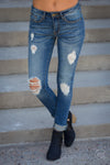 Machine Jeans Layla Wash - trendy distressed skinny mid-rise jeans, front view, Closet Candy Boutique