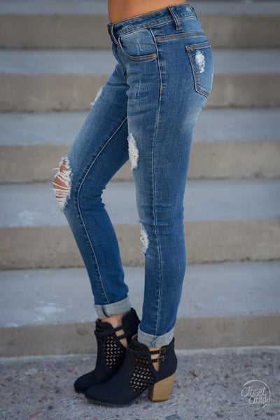 Machine Jeans Layla Wash - trendy distressed skinny mid-rise jeans, side, Closet Candy Boutique