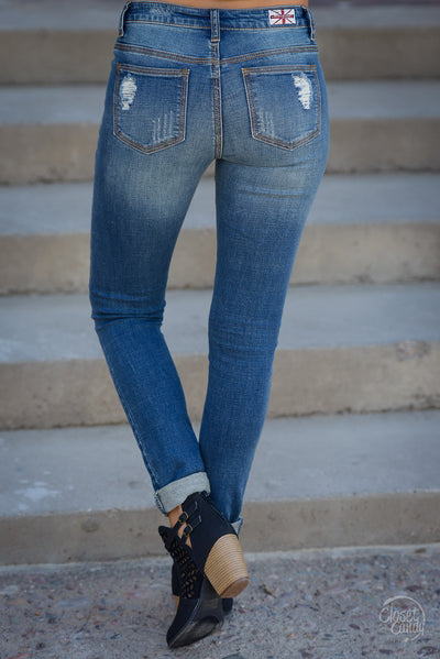 Machine Jeans Layla Wash - trendy distressed skinny mid-rise jeans, back pockets, Closet Candy Boutique