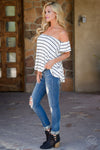 Machine Jeans Layla Wash - trendy distressed skinny mid-rise jeans, outfit view, Closet Candy Boutique