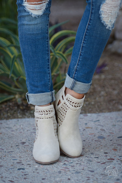Leave Your Mark Cutout Booties - Stone