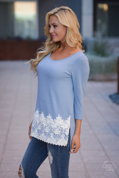 Sunny Days Ahead Crochet Hem Top - Sky Blue