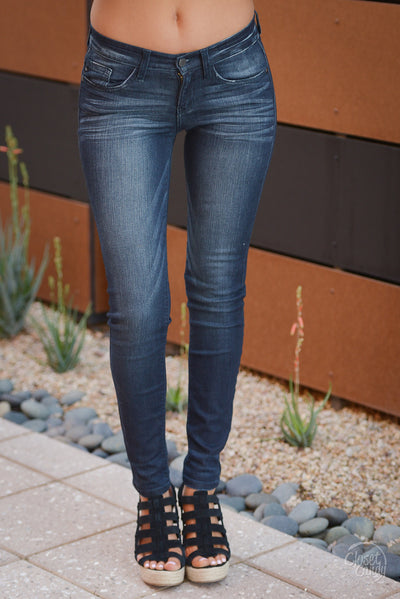Judy Blue Solid Skinny Jeans - mid-rise dark wash skinny jeans, Closet Candy Boutique 4