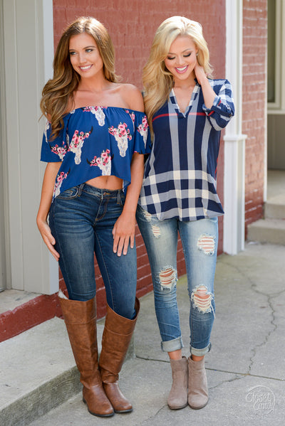 Office Hours Top - cute navy plaid top, outfit view, Closet Candy Boutique