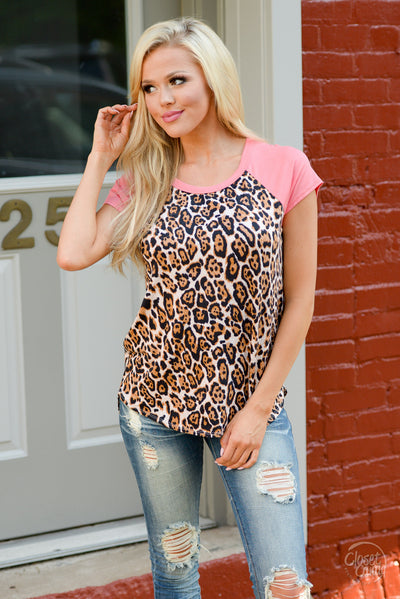 Keep It Sassy Leopard Top - Coral