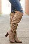 Follow My Lead Over-the-Knee Boots - taupe knee high suede boots, side, Closet Candy Boutique