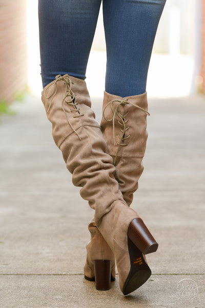 Follow My Lead Over-the-Knee Boots - taupe knee high suede boots, Closet Candy Boutique 6