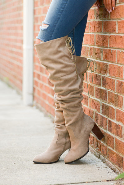 Follow My Lead Over-the-Knee Boots - taupe knee high suede boots, Closet Candy Boutique 2