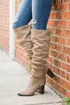 Follow My Lead Over-the-Knee Boots - taupe knee high suede boots, Closet Candy Boutique 1