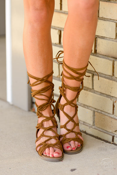 Indian Summer Lace-Up Sandals - Tan