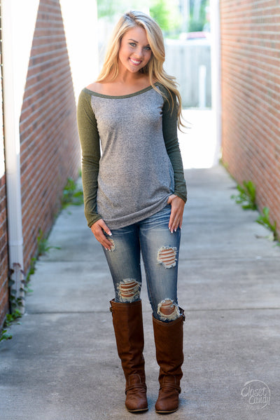 Stealing Hearts Ribbed Raglan Top - Olive women's long sleeve top, closet candy boutique 4