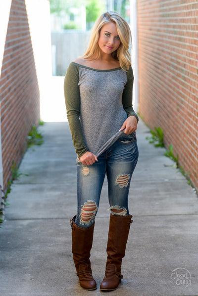 Stealing Hearts Ribbed Raglan Top - Olive women's long sleeve top, closet candy boutique 5