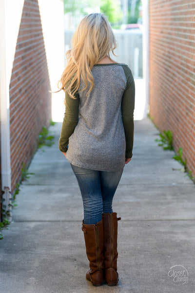 Stealing Hearts Ribbed Raglan Top - Olive women's long sleeve top, closet candy boutique 2