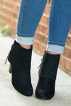 Stepping It Up Suede Booties - Black