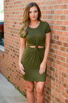 Plot Twist Cutout Dress - Olive