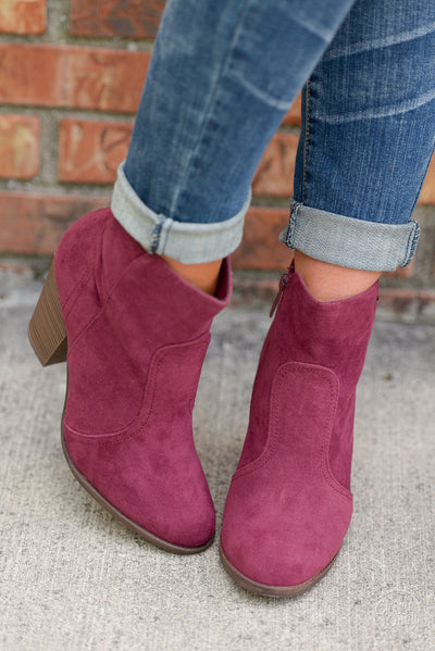 Staying Grounded Suede Booties - Wine